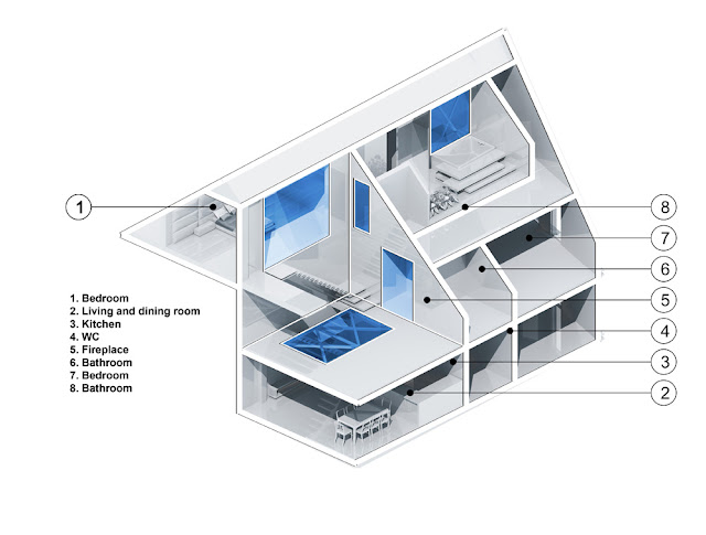 3D illustration of the attic apartment