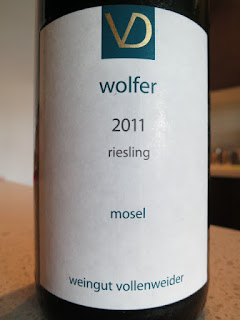 Label of 2011 Vollenweider Wolfer Riesling from Mosel, Germany