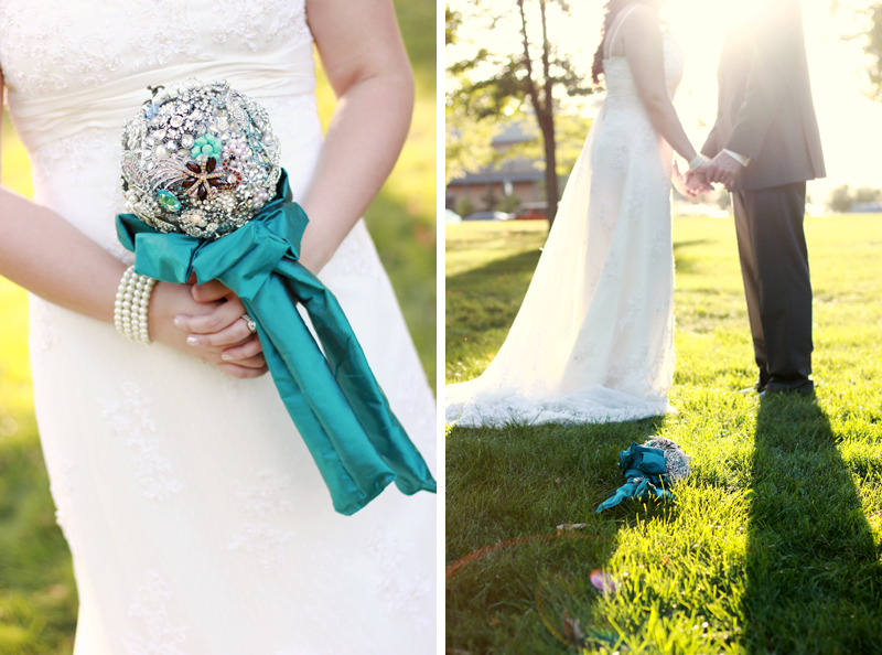 Antique Brooch Wedding Bouquet, Turquoise and Green Wedding, Wedding Sneak Peek, Winona Lake IN Wedding Photography