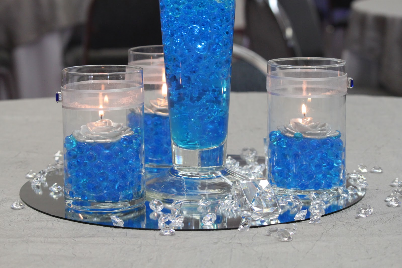 Table decorations blue - Royal Blue And Silver Church Wedding And Reception