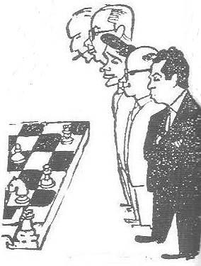 Caricaturas de Bas, Cherta, Beltrán, A.Ribera y Albareda
