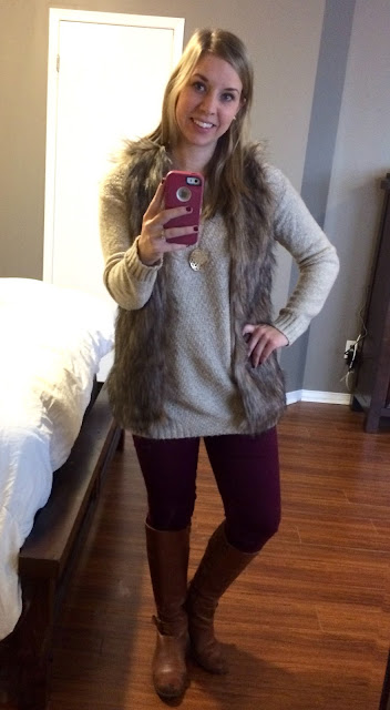 fur vest and burgundy pants