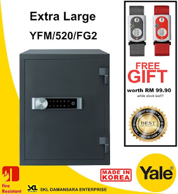Yale Extra Large YFM520 Fire Resistant Safe now on Promotion @ RM 1990.Free Yale Luggage Strap Lock