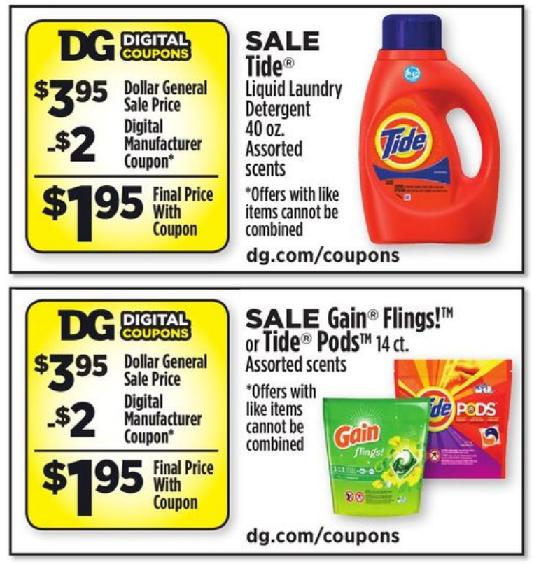 Gain coupons dollar general