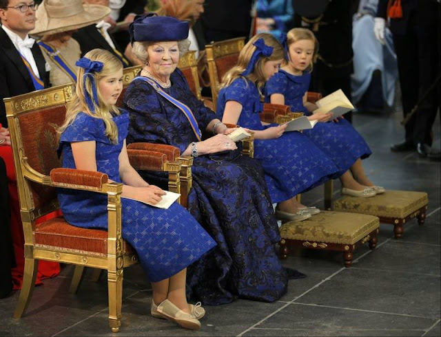 Dutch King Willem-Alexander and his wife Queen Maxima arrive to attend a religious ceremony at the Nieuwe Kerk church in Amsterdam