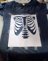 Skeleton Stencil Glitter T Shirt on UpcycleFever