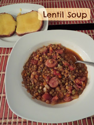 Lentil Soup:  A bold and spicy soup with hot Portuguese sausage and healthy lentils.