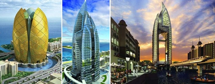 The Trump International Hotel & Tower – Left: Original design; Centre & right: Revised design – all renders by WS Atkins.