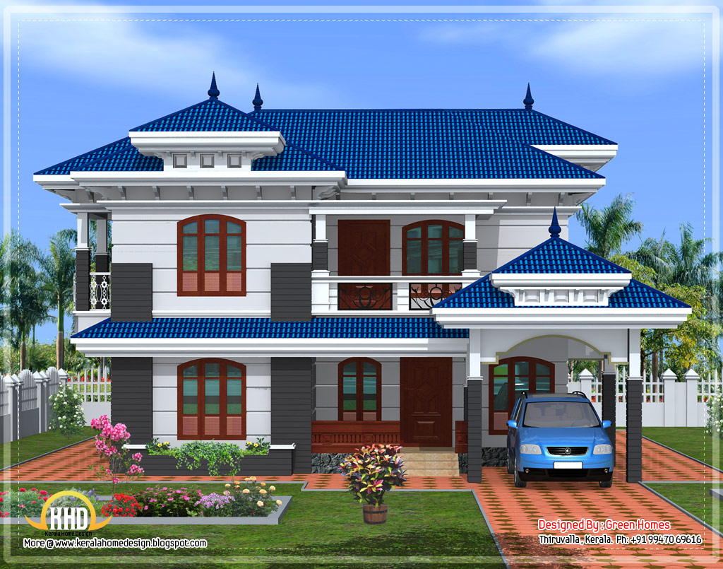 Front elevation of beautiful Kerala home design - April 2012