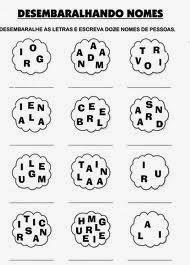 Atividades de Alfabetização - Anos Iniciais - Desembaralhando nomes