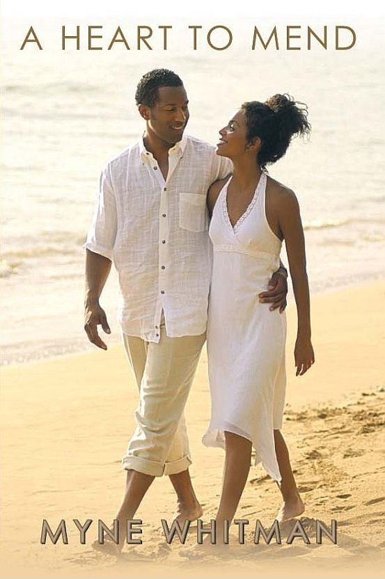 A Heart to Mend. A Nigerian couple dressed in white walks along a beach.