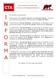 C.T.A. INFORMA CRÉDITO HORARIO ANTONIO PÉREZ, ABRIL 2019