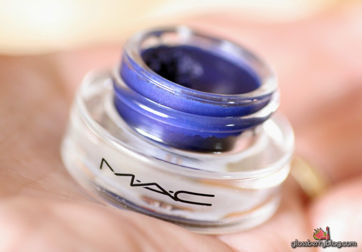 mac waveline fluidline review swatches ג'ל אייליינר כחול מאק