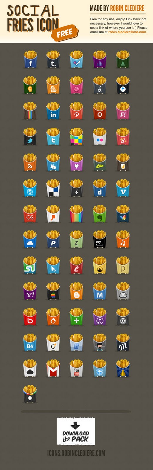 Social Fries Icons Set