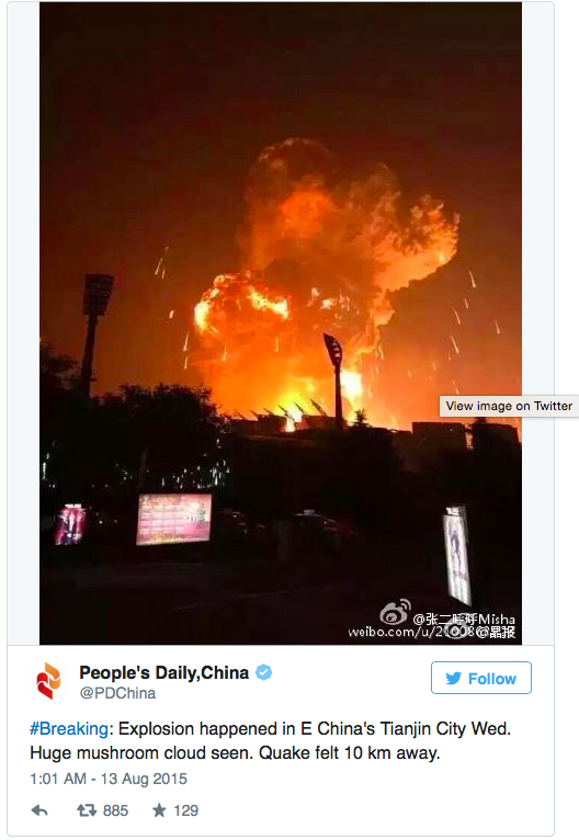 Terkini Satu Letupan Besar Gegarkan Tianjin China 7