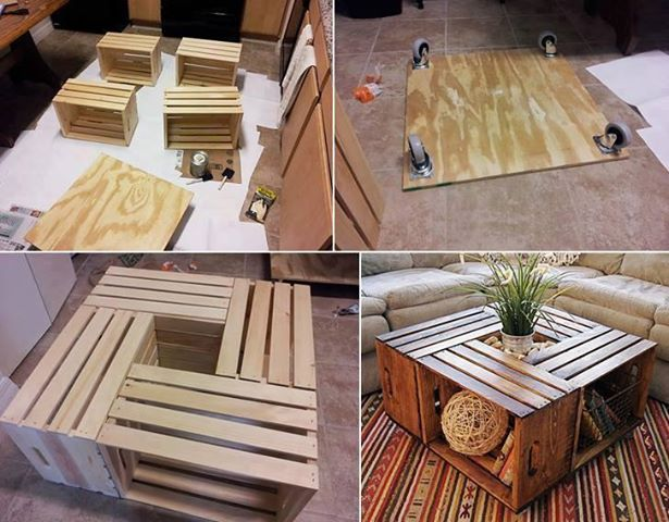 ... Good Food and Other Interests: DIY 'Vintage' Wine Crate Coffee Table