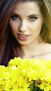 Yellow Flowers and Girl iPhone 5 HD Wallpaper 2013