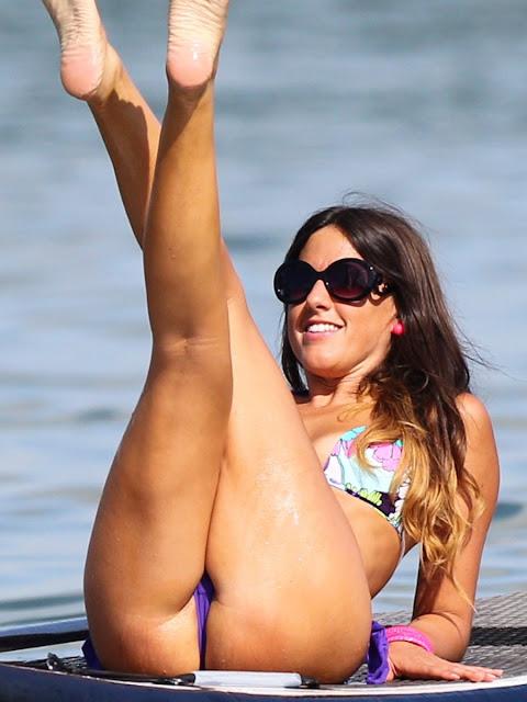Claudia Romani Paddleboarding Thong Bikini Candids In Miami