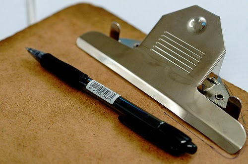 Clip board and pen
