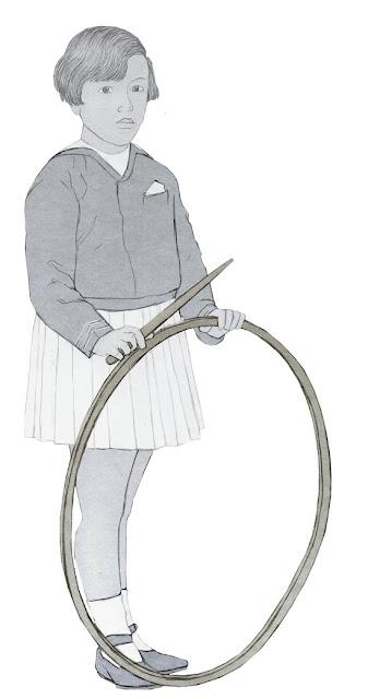 niña con aro, años 20,  dibujo