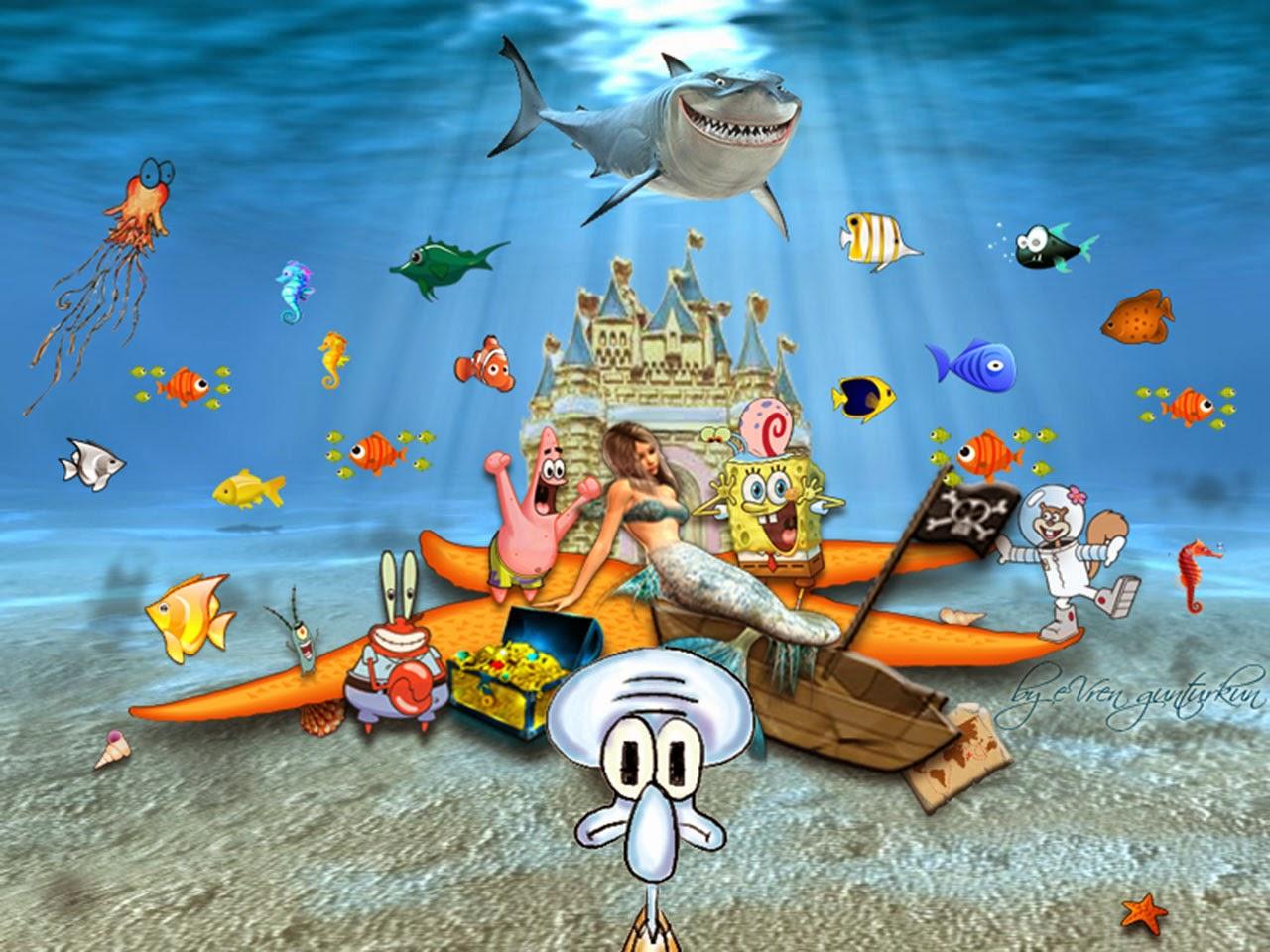 spongebob squarepants and friends 3d wallpaper - spongebob friend