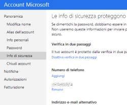 accesso login Microsoft con codice sicurezza