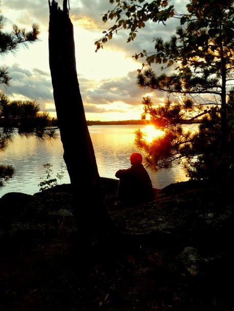 sunset over Saganaga Lake, BWCAW