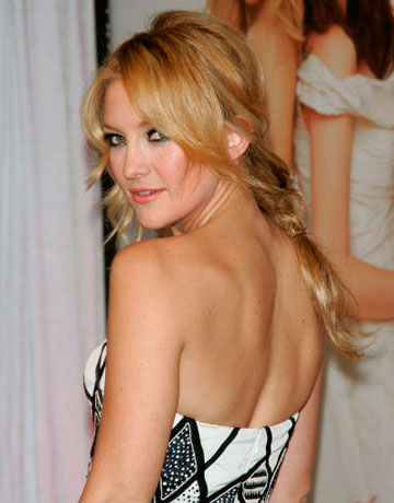 Kate Hudson Rockin' A Side Braid With Long Bangs Split Down The Middle