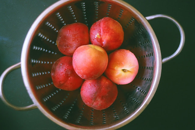 Fresh Peaches in Colander