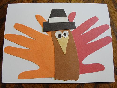 Handprint Turkey with Pilgrim Hat