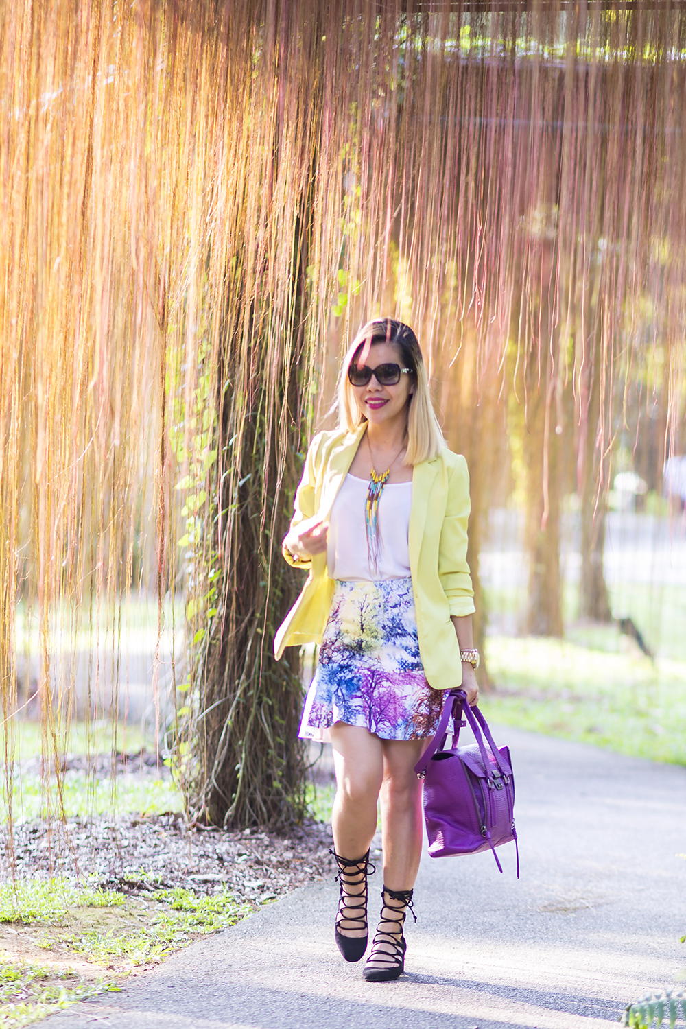 Crystal Phuong- Singapore Fashion Blog- Pretty in neon blazer, printed skirt and lace up shoes
