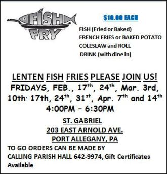 2-24 Lenten Fish Fries At St. Gabriel