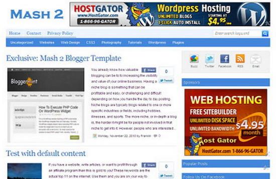 Top 3 most popular Premium Blogger Templates