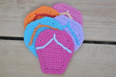 free crochet flip flop coaster pattern