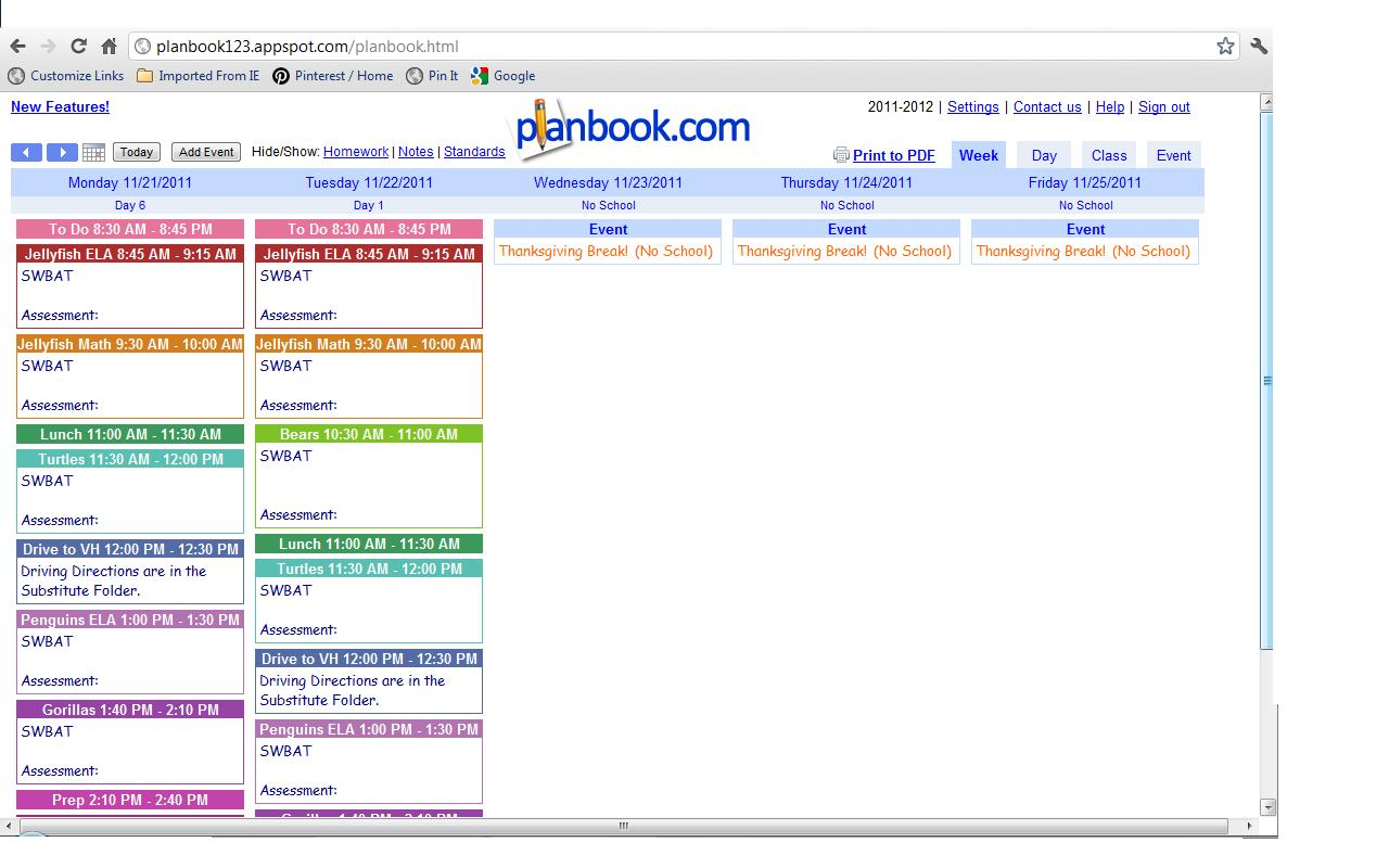 Lesson plan book free for Free planbook