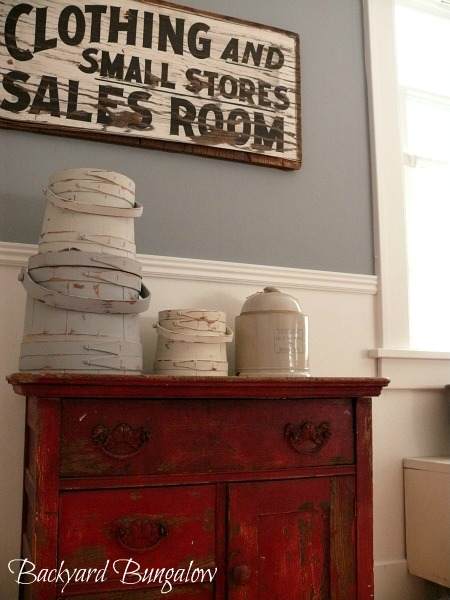 old sign wall art red cupboard