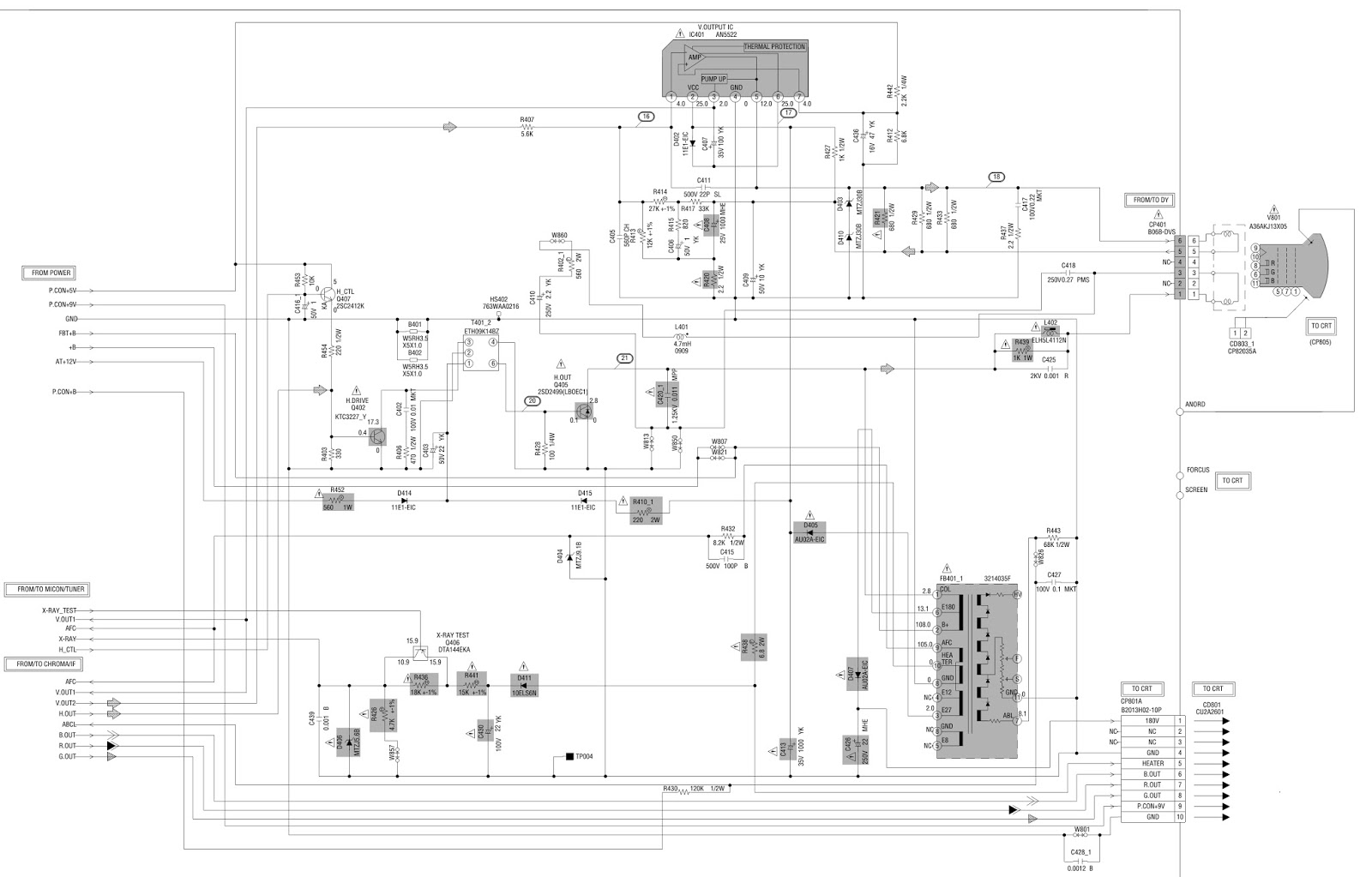 jvc av14f703 - crt tv - schematic