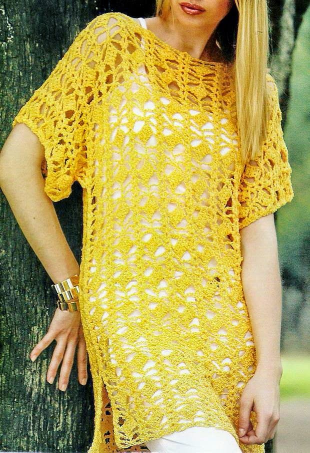 Free Crochet Pattern For Ladies Top : Crochet Sweaters: Crochet Tunic Pattern - Beautiful T- Shirt