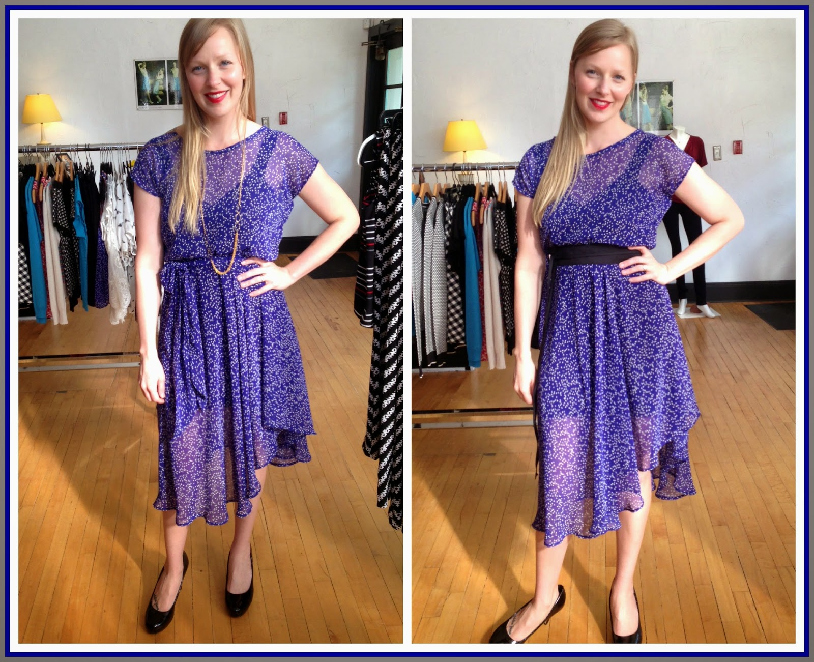 Nora by Sarah Bibb ($190) in blue floral, Ava slip ($65-$72) by Sarah Bibb, Obi belt ($40) by Sarah Bibb at Folly