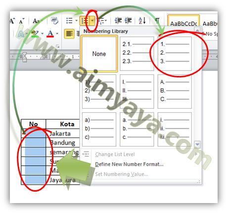 Gambar: Cara membuat nomor urut tabel otomatis