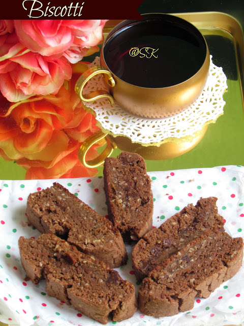 eggless chocolate and  oats biscotti - home baker's challenge - step by step