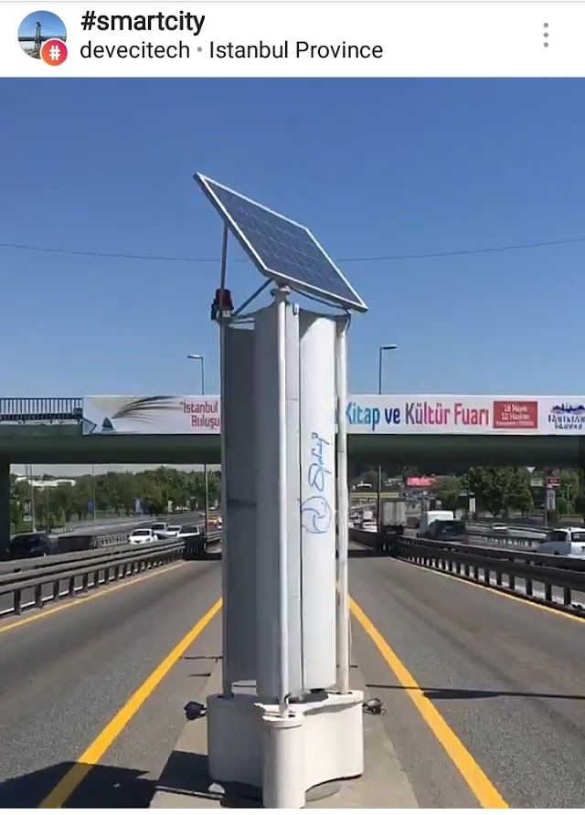 Menggunakan angin Dan solar panel