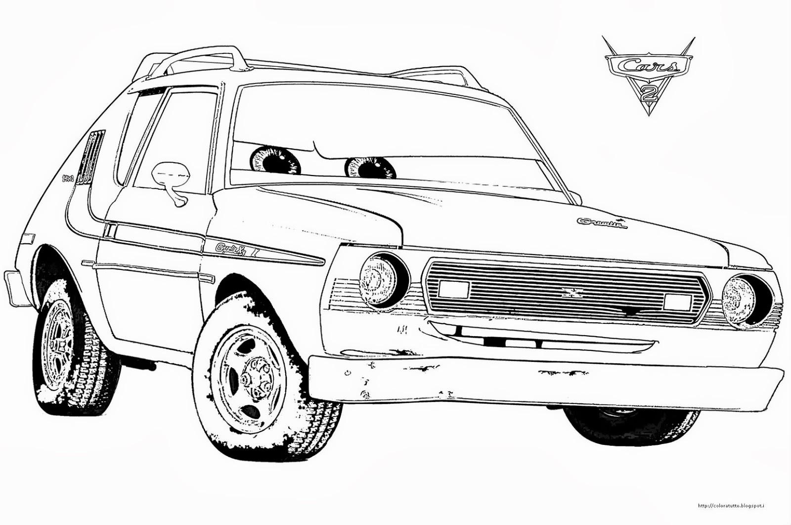 Disegni da colorare cars 2 for Disegni delle macchine