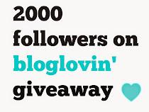 2000 Bloglovin' Followers Giveaway!