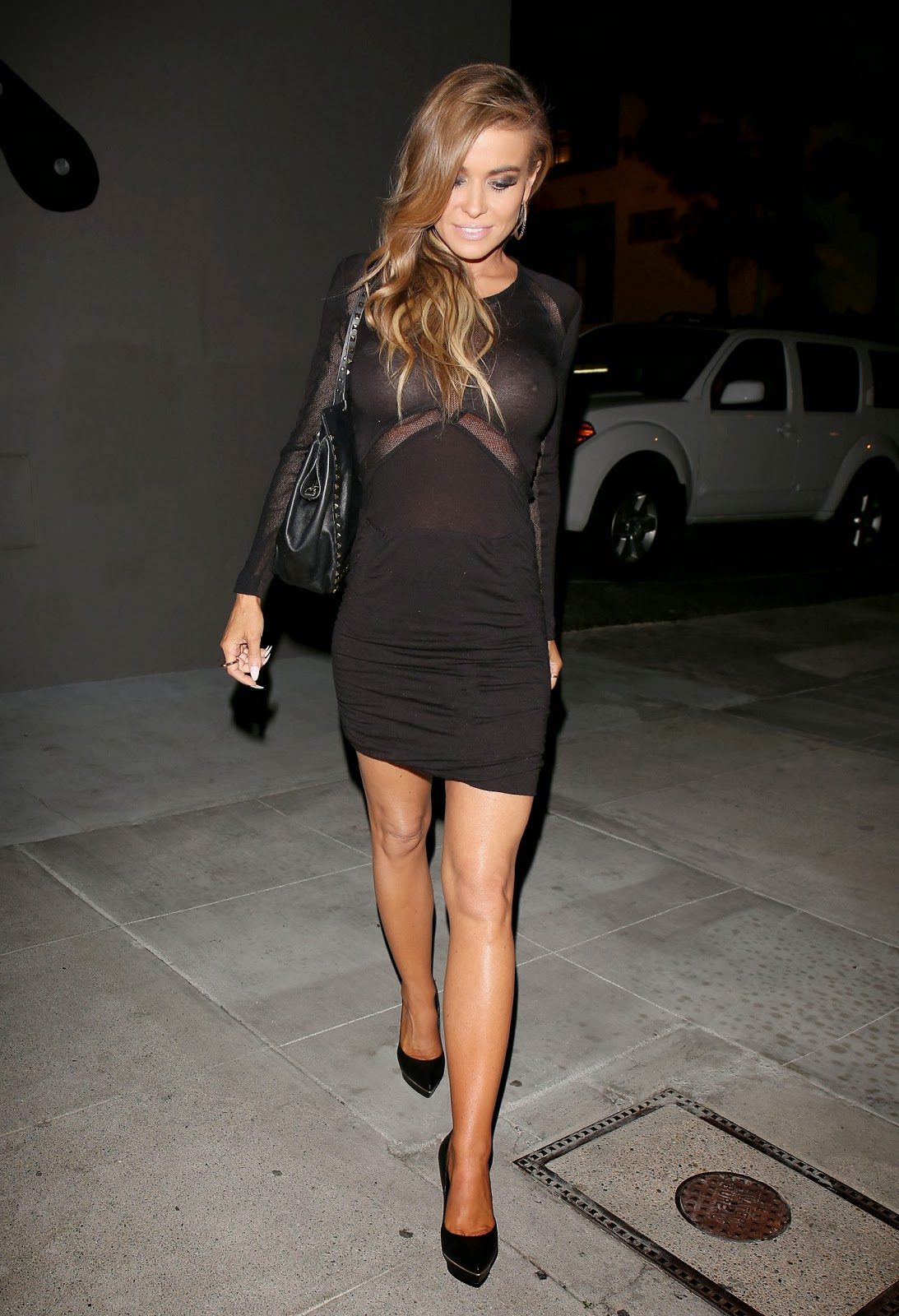Carmen Electra shocks as see-through dress exposes nipples ...
