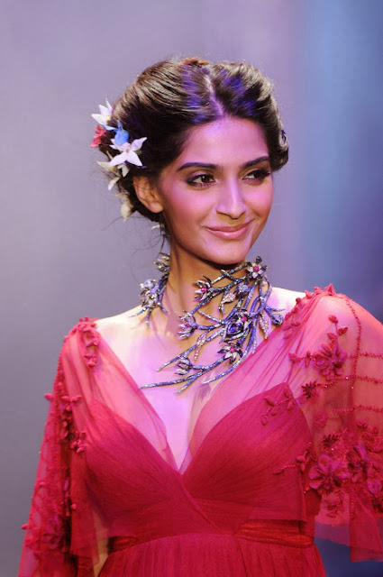 Sonam Kapoor In Red Colour Fashion Dress