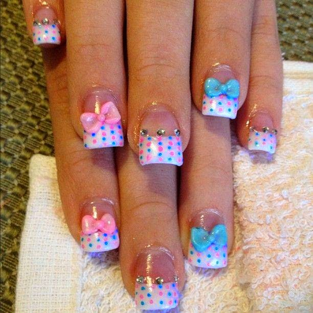 sculpted acrylics + LED polish manicure in pastel peach-LED polish manicure design, polish overs, nail art, glitz and custom  3D bows