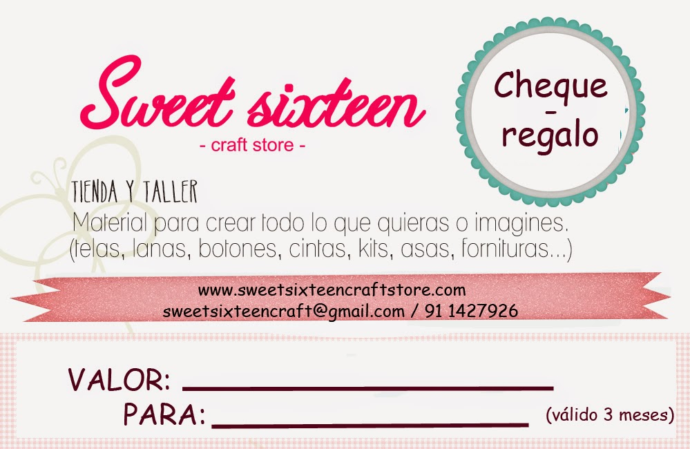 CHEQUES - REGALO Sweet sixteen craft store