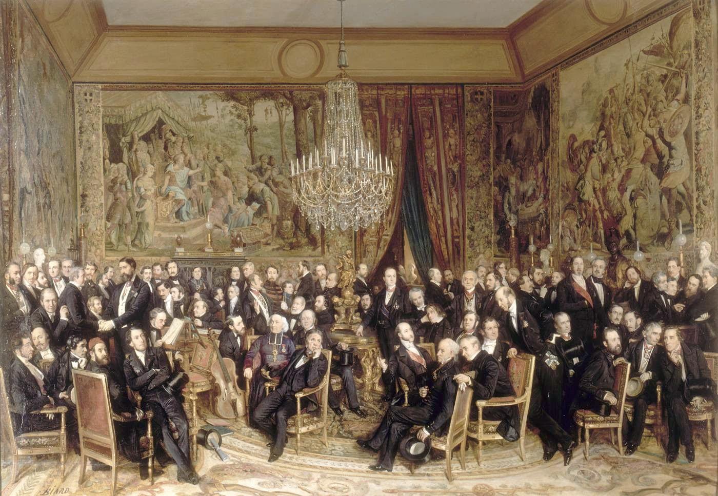 Peinture Française du 19ème Siècle: Soirée at the Louvre (1855)