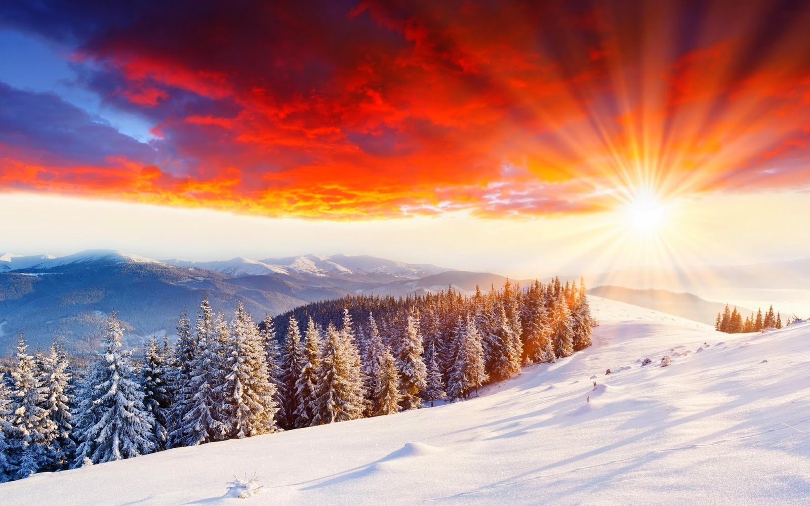 wonderful-sunset snow -mountain-hill-beautiful-nature-images-wallpapers